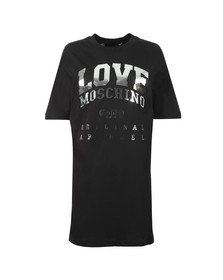 Love Moschino Womens Black Silver Logo T Shirt Dress