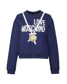 Love Moschino Womens Blue Medal Logo Sweatshirt
