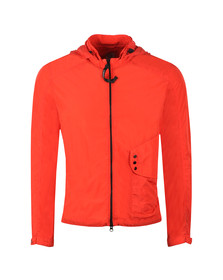 C.P. Company Mens Red Nylon Goggle Hooded Overshirt