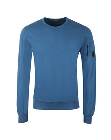 C.P. Company Mens Moroccan Blue Viewfinder Sleeve Crew Sweat