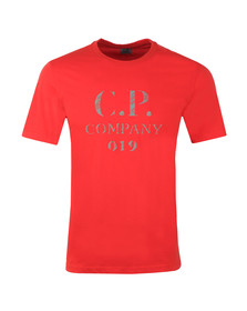 C.P. Company Mens Red Reflective Logo 019 T Shirt