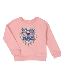 Kenzo Kids Girls Pink Sunglasses Tiger Logo Sweatshirt