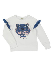 Kenzo Kids Girls White Girls Perforated Tiger Sweatshirt