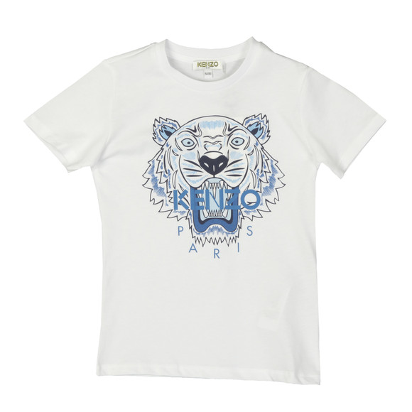Kenzo Kids Boys White Printed Tiger T Shirt