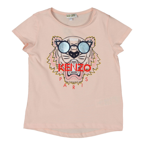 Kenzo Kids Girls Pink Glasses Tiger T Shirt
