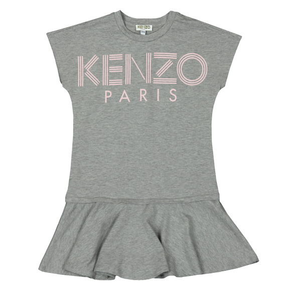 Kenzo Kids Girls Grey Logo Sweat Dress