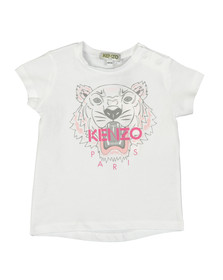 Kenzo Baby Girls White Printed Tiger T Shirt