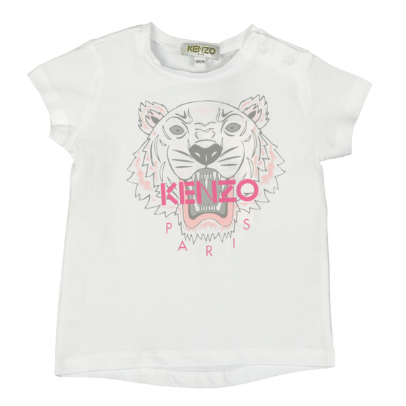 Kenzo Baby Girls White Printed Tiger T Shirt main image
