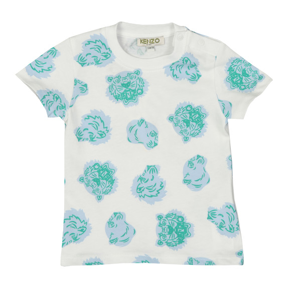 Kenzo Baby Boys White Allover Tiger  Print T Shirt