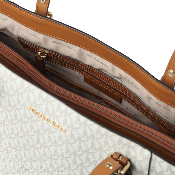 a70976a9cf51b2 Michael Kors Womens Off-White Voyager East West Signature Tote Bag main  image