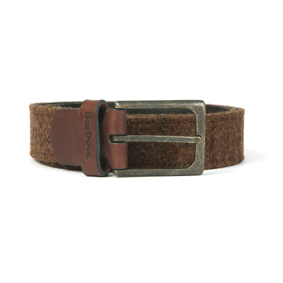 Barbour Lifestyle Mens Brown Tweed Leather Belt main image