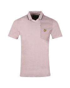 Lyle and Scott Mens Pink Fabric Mix Football Polo Shirt