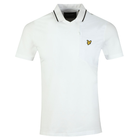 Lyle and Scott Mens White Fabric Mix Football Polo Shirt main image