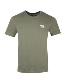 Alpha Industries Mens Green Basic Small Logo T Shirt