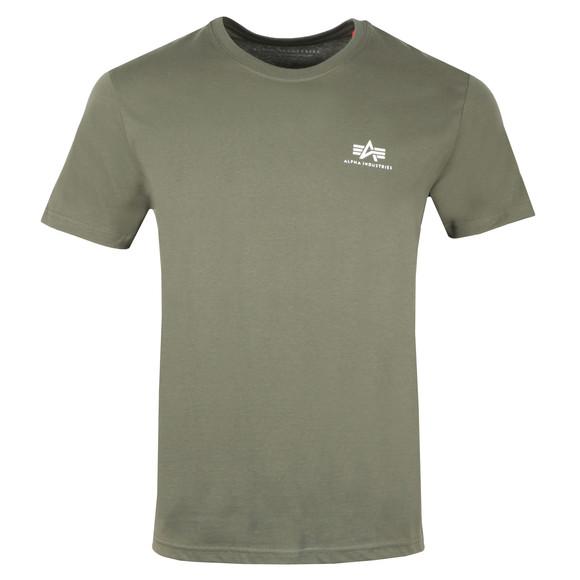 Alpha Industries Mens Green Basic Small Logo T Shirt