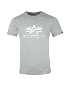 Alpha Industries Mens Grey Logo T Shirt