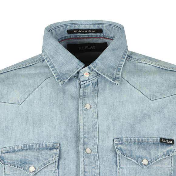 Replay Mens Blue L/S Denim Shirt main image