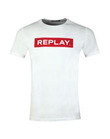 Replay Mens White Logo Print Tee