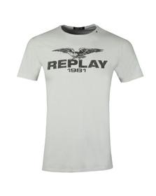 Replay Mens Off-White Logo Print Tee