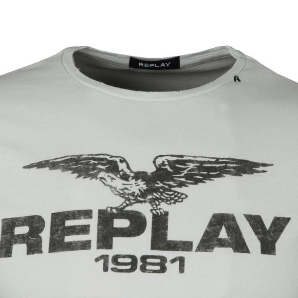 Replay Mens Off-White Logo Print Tee main image
