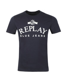 Replay Mens Blue Logo Print Tee