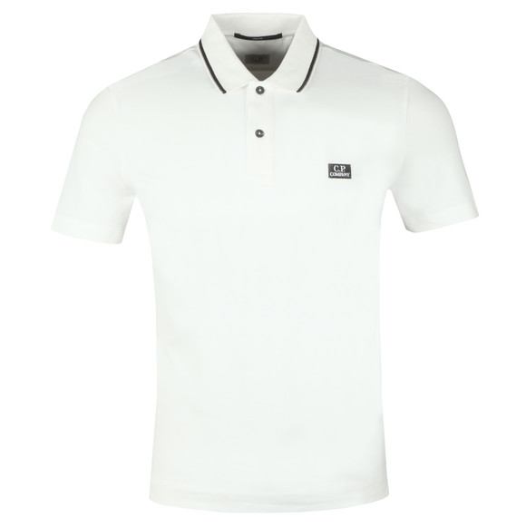 C.P. Company Mens White Tipped Polo Shirt main image