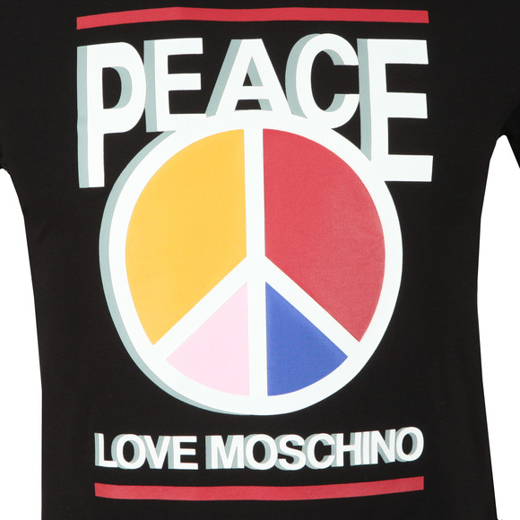 Love Moschino Mens Black 3D Peace T Shirt