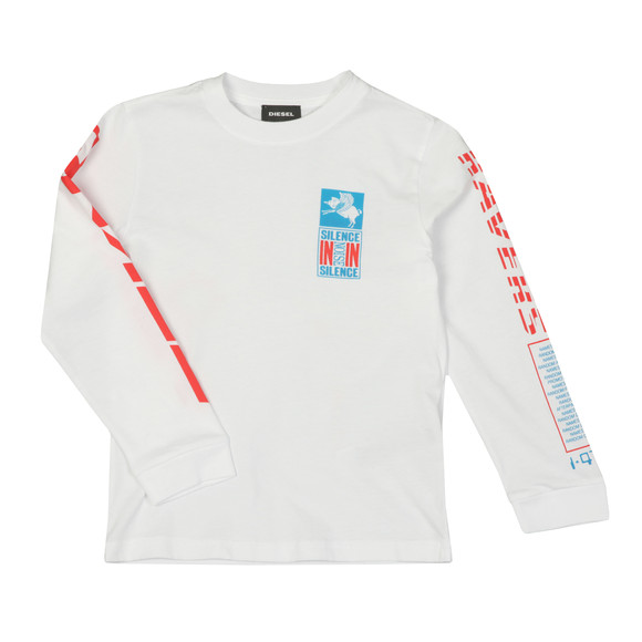 Diesel Boys White Just Noise Long Sleeve T Shirt