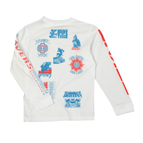 Diesel Boys White Just Noise Long Sleeve T Shirt main image