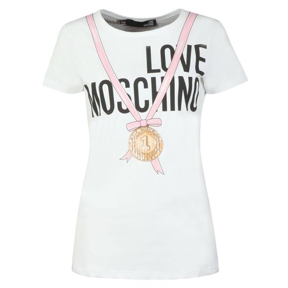 Love Moschino Womens White Medal Logo T Shirt main image