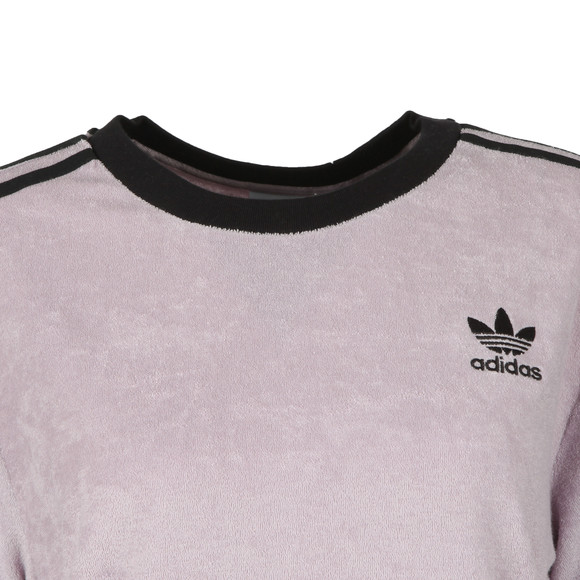 adidas Originals Womens Purple 3 Stripes Towelling T Shirt main image