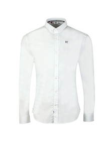 Eleven Degrees Mens White L/S Contrast Logo Shirt