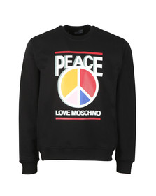 Love Moschino Mens Black 3D Peace Logo Sweatshirt