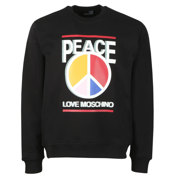 Love Moschino Mens Black 3D Peace Logo Sweatshirt main image