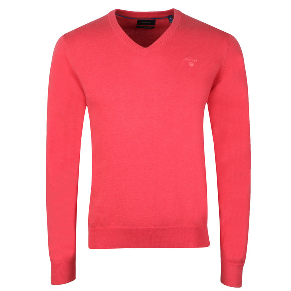 Gant Mens Red V Neck Jumper