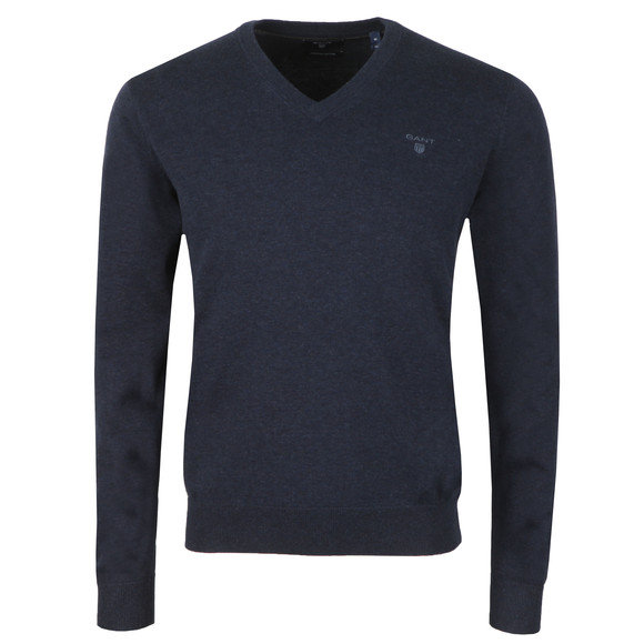 Gant Mens Blue V Neck Jumper main image