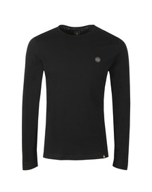 Pretty Green Mens Black LS Cotton T-Shirt