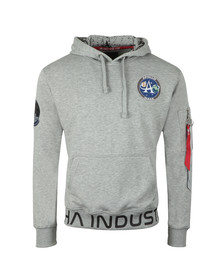 Alpha Industries Mens Grey Moon Landing Hoody