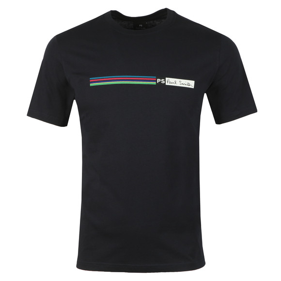 PS Paul Smith Mens Blue S/S Stripe Logo Tee main image