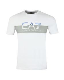 EA7 Emporio Armani Mens White Split Logo T Shirt