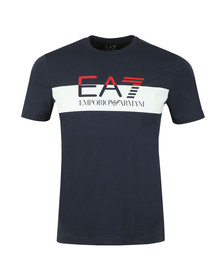 EA7 Emporio Armani Mens Blue Split Logo T Shirt
