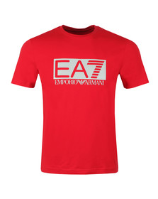 EA7 Emporio Armani Mens Red Large Rubber Logo T Shirt