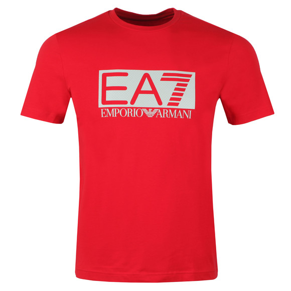 EA7 Emporio Armani Mens Red Large Rubber Logo T Shirt main image