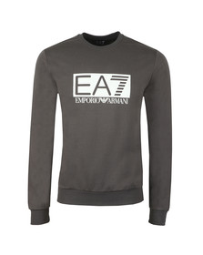 EA7 Emporio Armani Mens Grey Large Rubber Logo Sweatshirt
