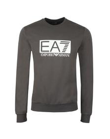 EA7 Emporio Armani Mens Grey Large Rubber Logo Sweatshirt