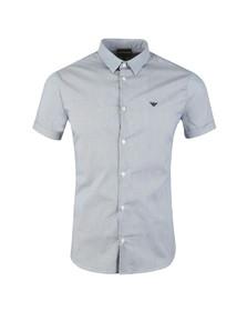 Emporio Armani Mens Blue Stretch Short Sleeve Shirt