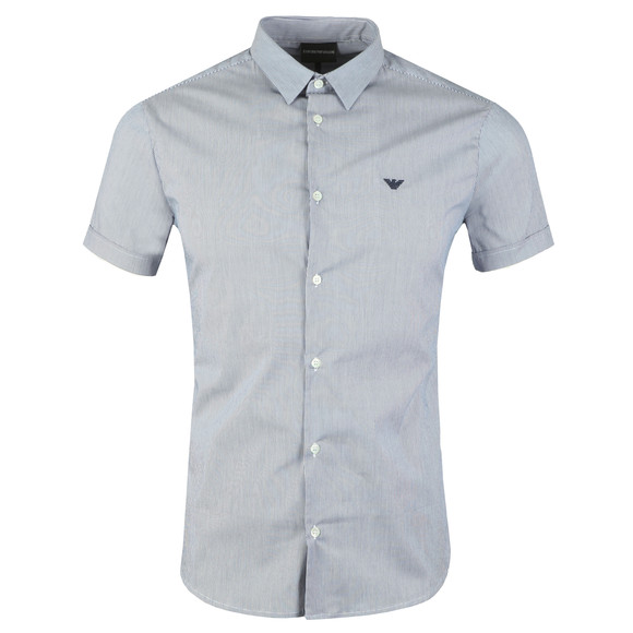 Emporio Armani Mens Blue Stretch Short Sleeve Shirt