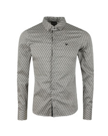 Emporio Armani Mens Black Allover Pattern Shirt