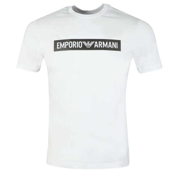 Emporio Armani Mens White Strip Logo T Shirt