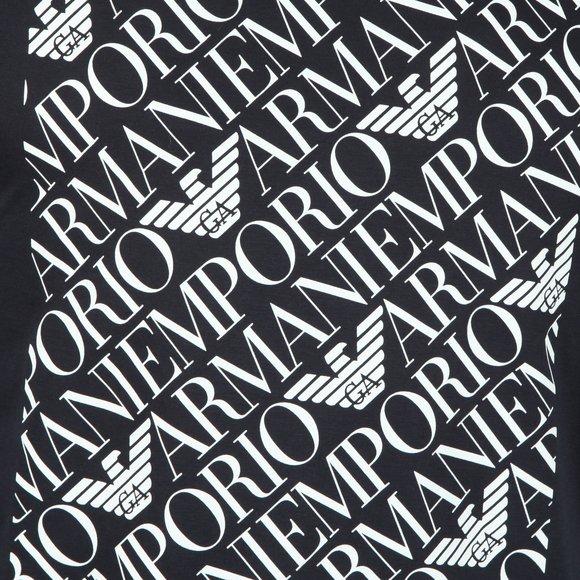 Emporio Armani Mens Blue Logo Square T Shirt main image